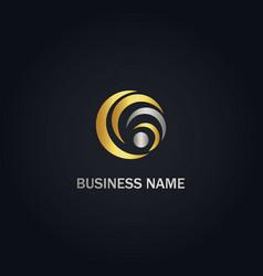 round circle curve company gold logo vector image
