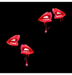 Seamless black background with red lips vector