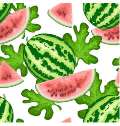 seamless pattern with watermelon and green leaves vector image