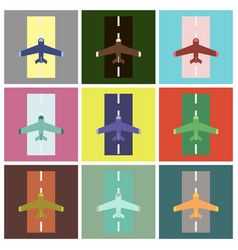 Set icons in flat design airplane runway vector