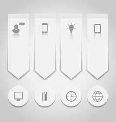 Set paper labels with infographic icons vector