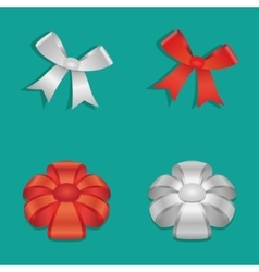Shiny Ribbon Bow set vector image