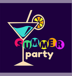 Summer party poster cocltail vector