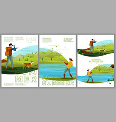 summer posters set - hiking and fishing vector image