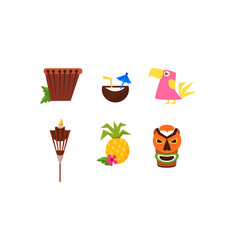 symbols of hawaiian culture set summer vacation vector image