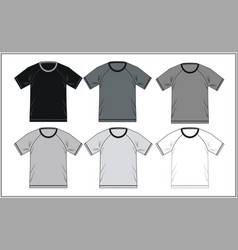 T shirt template raglan black white vector