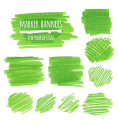Textured marker banners lines and stains vector