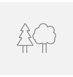 Trees line icon vector image