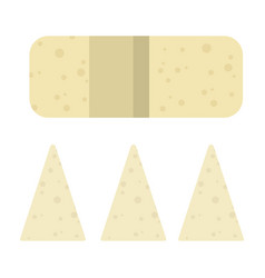 Triangular pieces cheese flat isolated vector