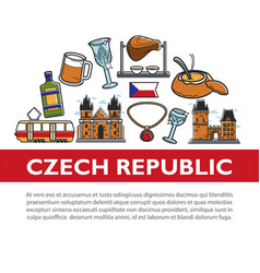 trip to czech republic promotional poster of vector image