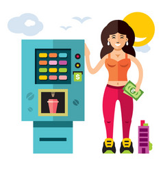vending machine with food and drink flat style vector image