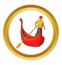 Venice gondola and gondolier icon vector