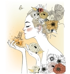 Vintage fashion girl with perfumes vector