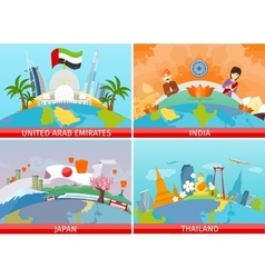 Welcome to japan thailand india uae vector