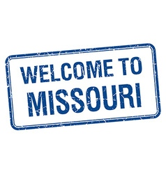 Welcome to Missouri blue grunge square stamp vector