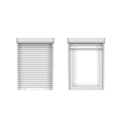 white single plastic windows with blinds closed vector image