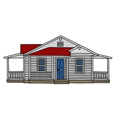 White wooden house vector