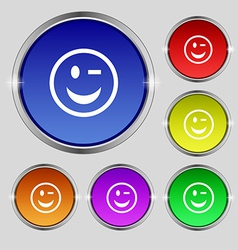 Winking Face icon sign Round symbol on bright vector