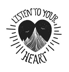 with mountains inside heart vector image