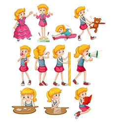 Woman doing different activities vector