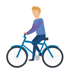 young man riding bicycle character vector image