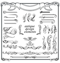 calligraphic design elements page decoration set vector image vector image