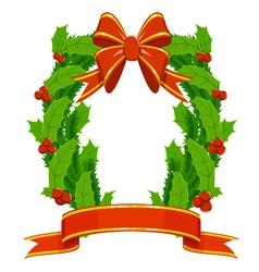 christmas holly and fir garland vector image