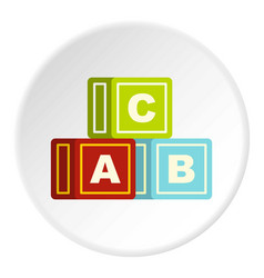 colorful alphabet cubes icon circle vector image vector image