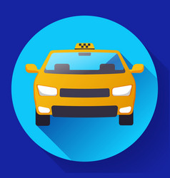 flat taxi car icon flat design vector image