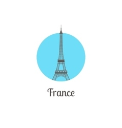 France tower landmark isolated round icon vector image vector image