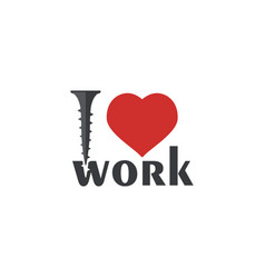 i love work font type with red heart sign and vector image