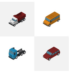 Isometric automobile set of car truck freight vector