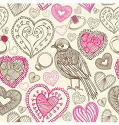 Retro Birds Hearts Doodles Pattern vector image vector image