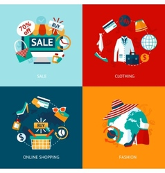 Shopping clothing flat icons set vector image vector image