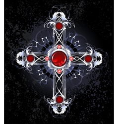 Silver cross with rubies vector image