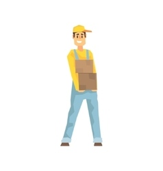Smiling Worker Holding Two Boxes Delivery Company vector image