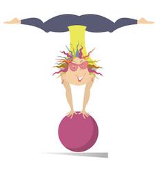 Smiling young woman do exercises with the ball iso vector