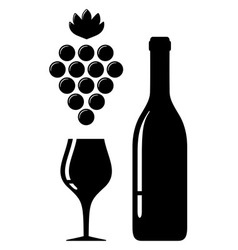 wine glass and bottle silhouette vector image