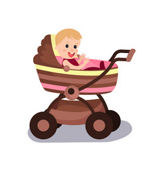 adorable baby sitting in a modern pram vector image vector image