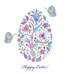 floral easter egg on white background vector image