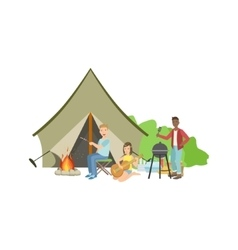 Friends Doing Barbecue With The Bonfire And Tent vector image