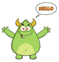 happy horned green monster cartoon character vector image vector image
