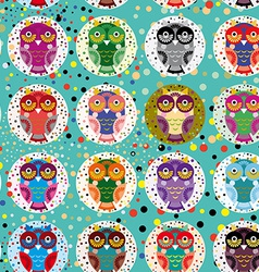 Seamless pattern with funny colored owls on a vector image