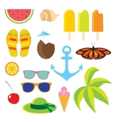 Set flat icons Travel and line length summer vector image