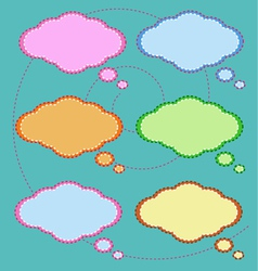 Six Colorful Thought Bubbles on Green Pattern vector image vector image