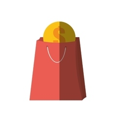 bag gift buy with dollar coin color shadow vector image