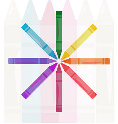 colorful crayons background round circled vector image