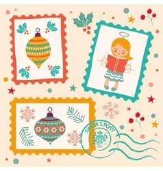 Vintage Christmas stamps collection vector image vector image