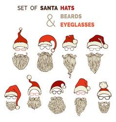 set of Santa hats moustache beards and eyeglasses vector image
