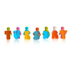 Tuesday Colorful Title - Paper Cut People and vector image vector image